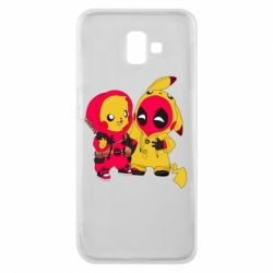 Чехол для Samsung J6 Plus 2018 Pikachu and deadpool
