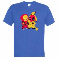 Мужская футболка  с V-образным вырезом Pikachu and deadpool