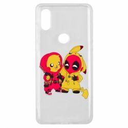 Чехол для Xiaomi Mi Mix 3 Pikachu and deadpool