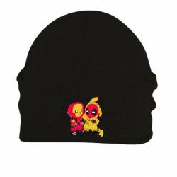 Шапка на флисе Pikachu and deadpool