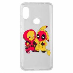 Чехол для Xiaomi Redmi Note 6 Pro Pikachu and deadpool