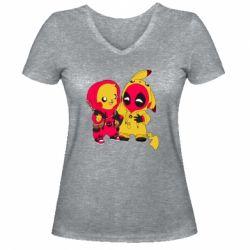 Женская футболка с V-образным вырезом Pikachu and deadpool