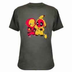 Камуфляжная футболка Pikachu and deadpool