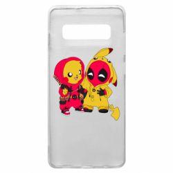 Чехол для Samsung S10+ Pikachu and deadpool