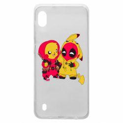 Чехол для Samsung A10 Pikachu and deadpool