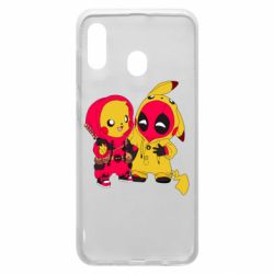 Чехол для Samsung A30 Pikachu and deadpool