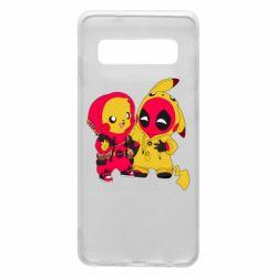 Чехол для Samsung S10 Pikachu and deadpool