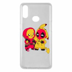 Чехол для Samsung A10s Pikachu and deadpool