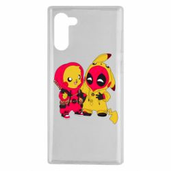 Чехол для Samsung Note 10 Pikachu and deadpool