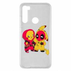 Чехол для Xiaomi Redmi Note 8 Pikachu and deadpool
