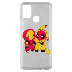 Чехол для Samsung M30s Pikachu and deadpool