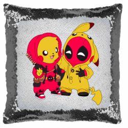 Подушка-хамелеон Pikachu and deadpool