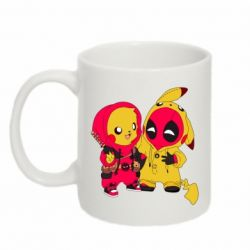 Кружка 320ml Pikachu and deadpool