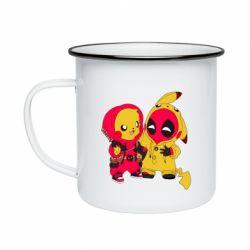 Кружка эмалированная Pikachu and deadpool