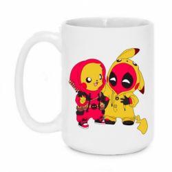 Кружка 420ml Pikachu and deadpool