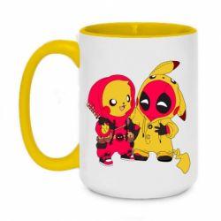 Кружка двухцветная 420ml Pikachu and deadpool