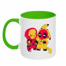 Кружка двухцветная 320ml Pikachu and deadpool