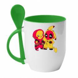 Кружка с керамической ложкой Pikachu and deadpool
