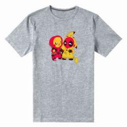 Мужская стрейчевая футболка Pikachu and deadpool