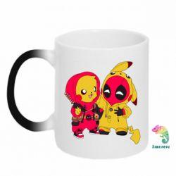 Кружка-хамелеон Pikachu and deadpool