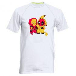Мужская спортивная футболка Pikachu and deadpool