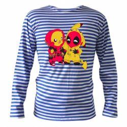 Тельняшка с длинным рукавом Pikachu and deadpool