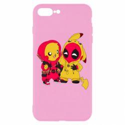 Чехол для iPhone 7 Plus Pikachu and deadpool