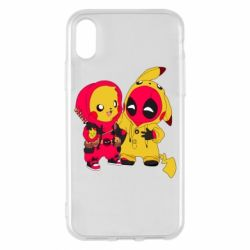 Чехол для iPhone X/Xs Pikachu and deadpool