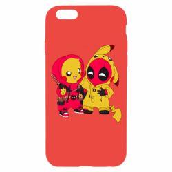 Чехол для iPhone 6/6S Pikachu and deadpool