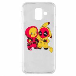Чехол для Samsung A6 2018 Pikachu and deadpool