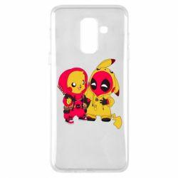 Чехол для Samsung A6+ 2018 Pikachu and deadpool
