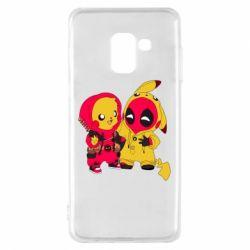 Чехол для Samsung A8 2018 Pikachu and deadpool