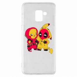 Чехол для Samsung A8+ 2018 Pikachu and deadpool