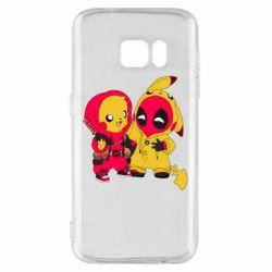 Чехол для Samsung S7 Pikachu and deadpool