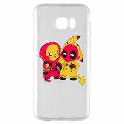 Чехол для Samsung S7 EDGE Pikachu and deadpool