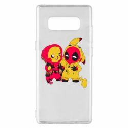 Чехол для Samsung Note 8 Pikachu and deadpool