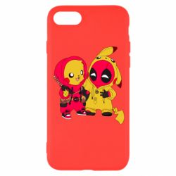 Чехол для iPhone 8 Pikachu and deadpool