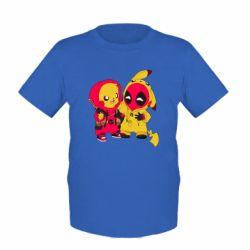 Детская футболка Pikachu and deadpool