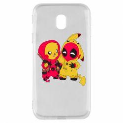 Чехол для Samsung J3 2017 Pikachu and deadpool