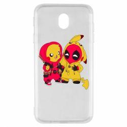 Чехол для Samsung J7 2017 Pikachu and deadpool