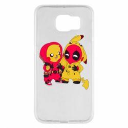 Чехол для Samsung S6 Pikachu and deadpool