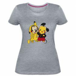 Женская стрейчевая футболка Пикачу и Микки Маус