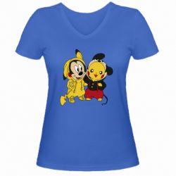 Женская футболка с V-образным вырезом Пикачу и Микки Маус