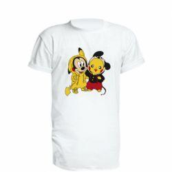 Удлиненная футболка Пикачу и Микки Маус