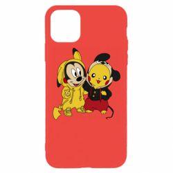 Чехол для iPhone 11 Pro Max Пикачу и Микки Маус