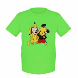 Детская футболка Пикачу и Микки Маус