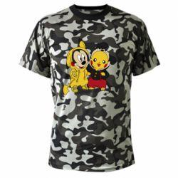 Камуфляжная футболка Пикачу и Микки Маус