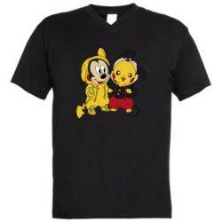 Мужская футболка  с V-образным вырезом Пикачу и Микки Маус