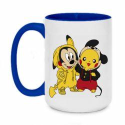 Кружка двухцветная 420ml Пикачу и Микки Маус