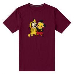 Мужская стрейчевая футболка Пикачу и Микки Маус
